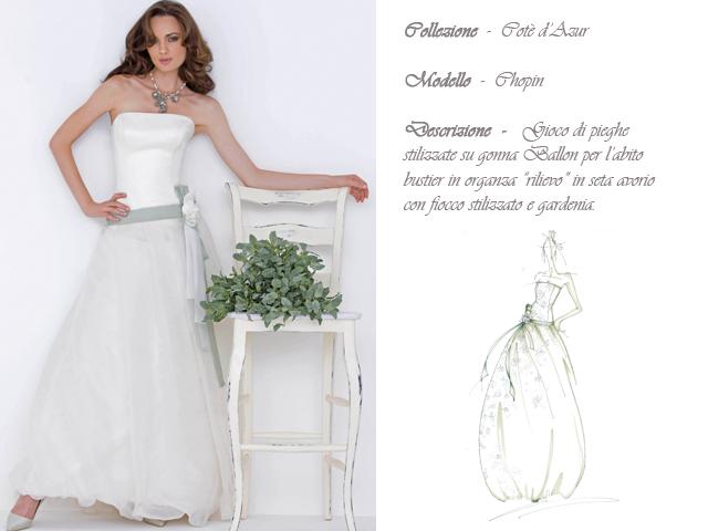 Claraluna collezione 2014 cote azur abito sposa modello chopin