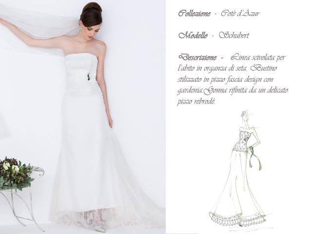 Claraluna collezione 2014 cote azur abito sposa modello schubert