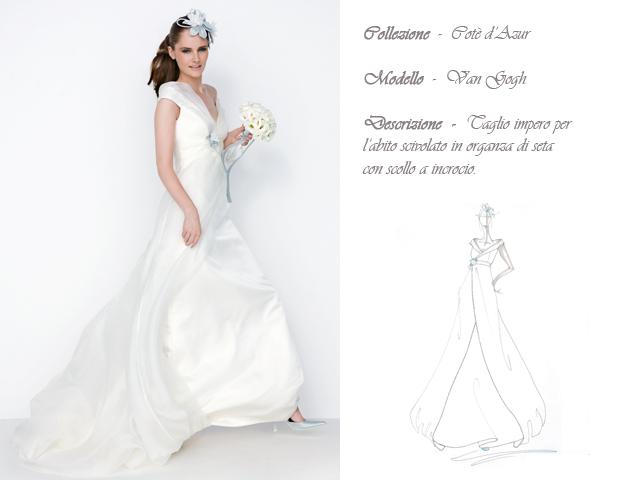Claraluna collezione 2014 cote azur abito sposa modello van gogh