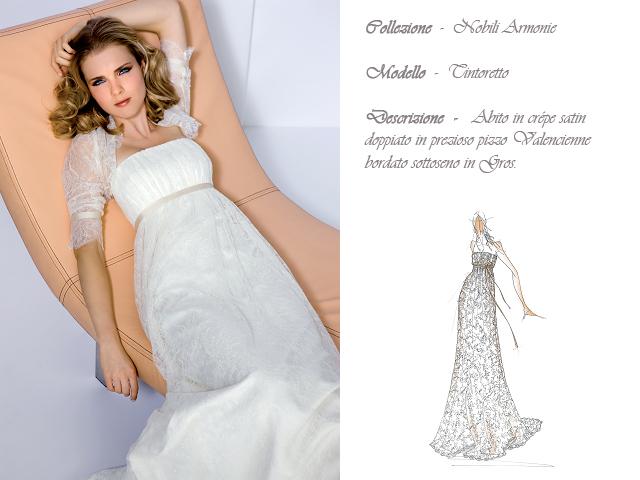Claraluna collezione 2014 nobili armonie abito sposa modello tintoretto