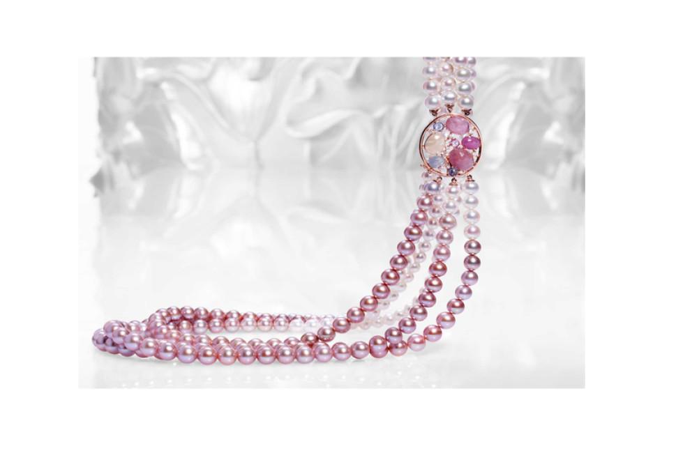 Gioielleria Soprana collezione cromia delle pietre collana perle e zaffiri Crivelli