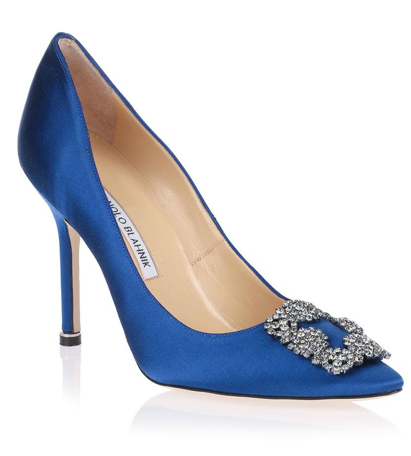 costruzione razionale sulle immagini di piedi di stili di grande varietà Manolo Blahnik scarpe pumps sposa satin blu | ABITI DA SPOSA